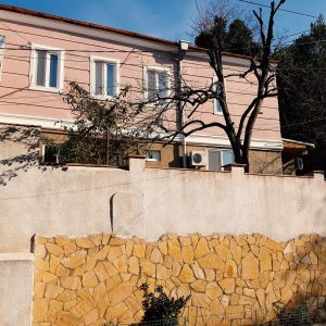 Mountain Scream šeimos viešbutis: vaizdas į išorinį fasadą su aukštai dekoruota siena