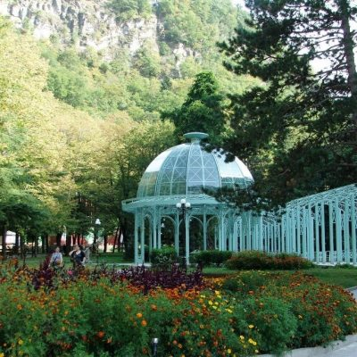Georgia in 7 days: the flower garden in front of Borjomi dome-shaped pavilion