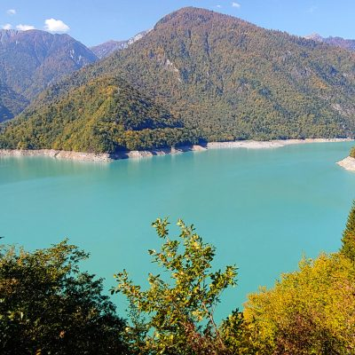 Georgia in 7 days: huge water dam in Mestia with a light blue water