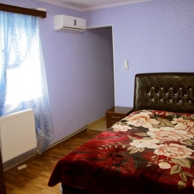 Гостевой дом Вахтанга: комната с голубыми стенами и двуспальной кроватью