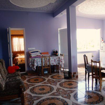Гостевой дом Вахтанга: главный зал, ведущий в комнаты, со столом и стульями и удобным диваном