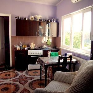 Гостевой дом Вахтанга: кухня в главном зале с креслом впереди